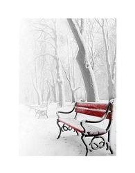 Czerwona ławka - w śniegu - reprodukcja