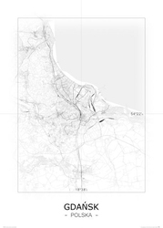Gdańsk - czarno-biała mapa