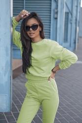Dresowy komplet nierozpinana bluza i dopasowane spodnie - limonkowy