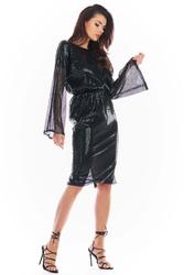Cekinowa sukienka z dekoltem na plecach - czarna