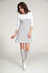 Szaro-Biała Rozkloszowana Mini Sukienka