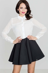 Czarna efektowna kloszowana spódnica mini
