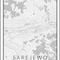 Sarajewo mapa czarno biała - plakat