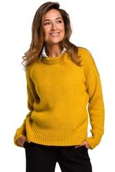 Miodowy Klasyczny Sweter z Długim Rękawem