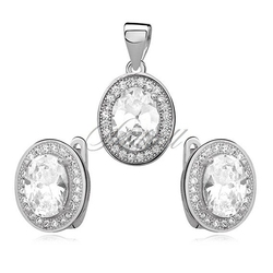 Srebrny elegancki komplet pr.925 cyrkonia biała owalna