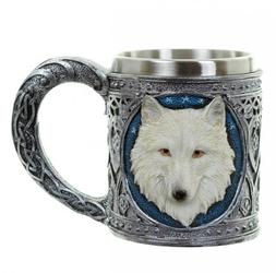 Kufel biały wilk - kufel dekoracyjny z wilkiem