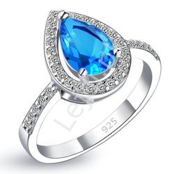 Srebrny pierścionek damski z niebieskim oczkiem, 925