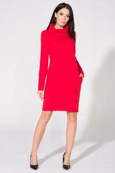 Czerwona Sukienka Dresowa z Golfem