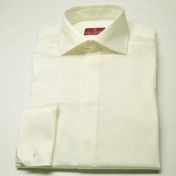 Elegancka śmietankowa ecru koszula SLIM FIT z krytą listwą i włoskim kołnierzykiem 38