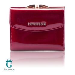 Czerwony lakierowany portfel damski peterson bc401