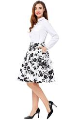 Spódnica pin-up biała w czarne kwiaty | bawełniana spódnica