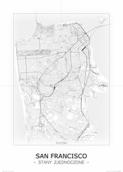 San Francisco - Czarno-biała mapa