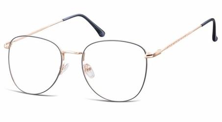Oprawki okulary  pilotki zerówki  korekcyjne 924c granatowo-złote