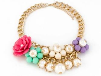 NASZYJNIK gruby łańcuch KWIATY 3D perły KOLOROWY - multi