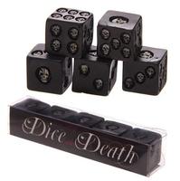 Czarne kości do gry z czaszkami - komplet 5 szt.