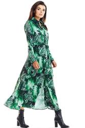 Zielona maxi szmizjerka z florystycznym motywem