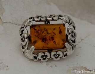 Arancza - srebrna broszka z bursztynem