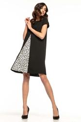 Czarna trapezowa sukienka z wstawką w kwiatki