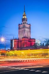 Warszawa kolory pałac kultury - plakat premium wymiar do wyboru: 90x120 cm