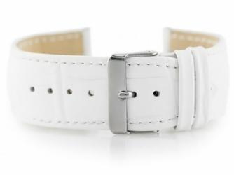 Pasek skórzany do zegarka W64 - biały - 24mm