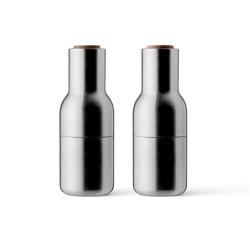 Zestaw młynków z drewnianą pokrywką stal matowa Bottle Grinder MENU