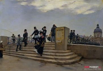 wietrzny dzień na pont des arts  -  jean beraud ; obraz - reprodukcja