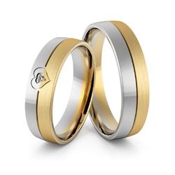Obrączki ślubne dwukolorowe z sercem i brylantem - au-965