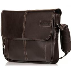 Stylowa torba męska na ramię casual solier s15 ciemnobrązowa - brązowy