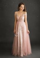 Brudno różowa brokatowa suknia wieczorowa 2218