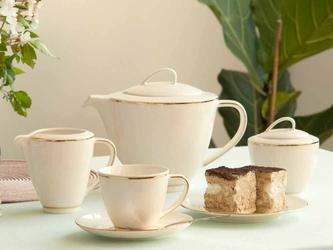 Serwis  zestaw kawowy dla 6 osób porcelana mariapaula nova ecru złota linia 21 elementów
