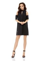 Wizytowa sukienka o linii a z wyciętymi ramionami - czarna
