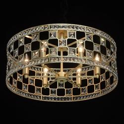 Okrągłe, klasyczne oświetlenie sufitowe, złote, kryształowe wykończenie mw-light 121011606