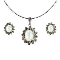 Roma komplet srebrnej biżuterii kolczyki wisiorek markazyty masa perłowa owal sztyft