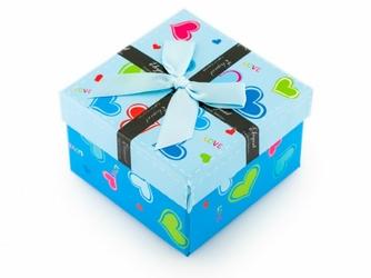 Prezentowe pudełko na zegarek - kokardka Elegant - niebieskie