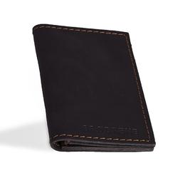 Skórzany cienki portfel slim wallet brodrene sw03 czarny - czarny