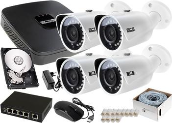 Rejestrator ip bcs bcs-nvr04015me-ii + 4x kamera fullhd bcs-tip3200ir-e-iii + dysk 1tb + akcesoria