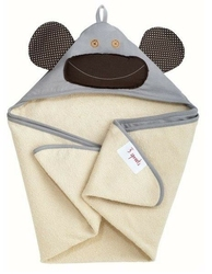 Ręcznik z kapturkiem - szara małpka