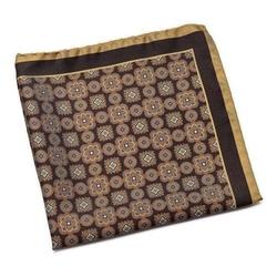 Jedwabna brązowa poszetka w złoty i beżowy wzór