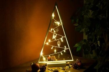 Choinka świąteczna szara 20 led ciepła biel 50 cm