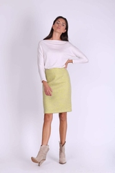 Limonkowa ołówkowa spódnica midi z tkaniny buckle