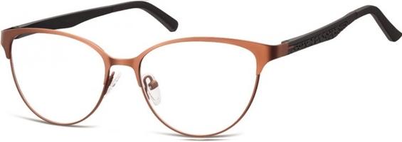 Oprawki okularowe kocie oczy damskie stalowe,giętki zausznik sunoptic 980e brązowe