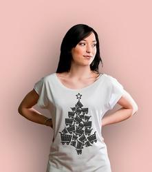 Choinka zakupowa t-shirt damski biały xxl