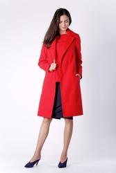 Czerwony Wiązany Płaszcz do Kolan