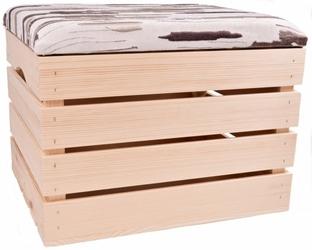 Pufa kufer skrzynia drewniana sosnowa siedzisko 50cm naturalna