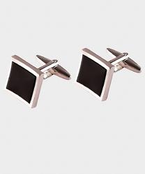 Eleganckie spinki do mankietów kwadratowe z czarnym wnętrzem