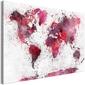 Obraz - mapa świata: czerwone akwarele 1-częściowy szeroki