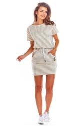 Wygodna beżowa sukienka z troczkami w pasie w paski
