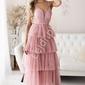 Sukienka tiulowa maxi z falbanami, pudrowy róż 2249
