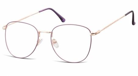 Oprawki okulary  pilotki zerówki korekcyjne 924a fioletowo-złote