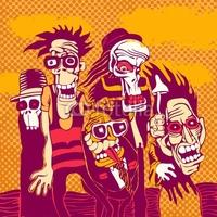Obraz na płótnie canvas czteroczęściowy tetraptyk tło grunge z osobą halloween, na okładce cd